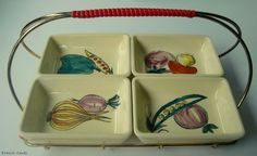 Ceramic Snack Dishes with Vintage Wire Carrier / by FrenchCandy, €22.00