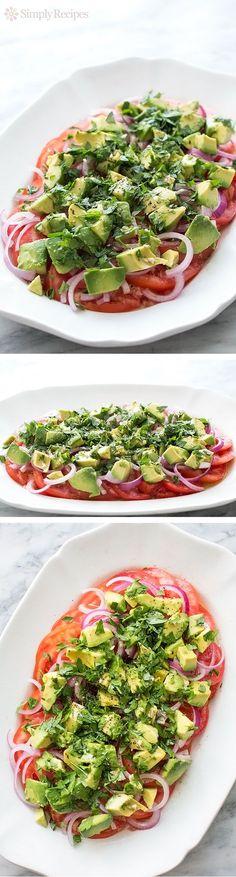 Tomato, Onion, Avocado Salad ~ Fresh tomato, red onion, and avocado salad, seasoned Italian style with oregano, fresh parsley, garlic, olive oil, wine vinegar, salt and pepper. ~ SimplyRecipes.com