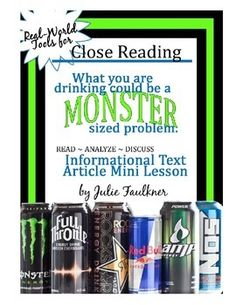 What you drink could be a monster-sized problem.  Informational Text Close Reading Activity {Dangers of Energy Drinks}