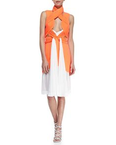 @roressclothes clothing ideas #women fashion Dion Lee Neo Pleated Interlock Dress