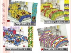 Manjakan dan dekorasi kamar anak anda dengan Sprei motif Minions, Spongebob, HelloKitty. HUbungi 0813 816 49 865 atau klik grosirspreimurah.com 49er, Furniture, Home Decor, Decoration Home, Room Decor, Home Furnishings, Home Interior Design, Home Decoration, Interior Design
