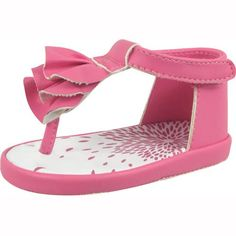 Baby Deer Rose Pink Ruffle Sandals. Trendy Toes!  The perfect companion piece her little summer dress, these Rose Pink Ruffle Sandals are pretty kicks she'll love to don! These sandals will be a favorite of Moms, too, as they protect the heels of their little g.. . See More Shoes at http://www.ourgreatshop.com/Shoes-C201.aspx