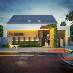 Modny III - dom parterowy z poddaszem użytkowym i garażem   doomo Barn House Plans, Architect House, Prefab Homes, Modern Exterior, Next At Home, Residential Architecture, Cozy House, Building A House, House Design