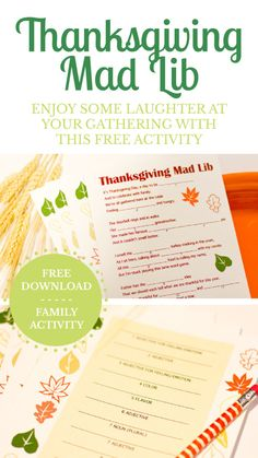 Free Thanksgiving Mad Lib Printable This would be a fun activity for the family to do at Thanksgiving this year Thanksgiving Mad Lib, Thanksgiving Traditions, Thanksgiving Parties, Thanksgiving Activities, Thanksgiving Celebration, Thanksgiving Decorations, Hosting Thanksgiving, Holiday Decorations, Thanksgiving Recipes