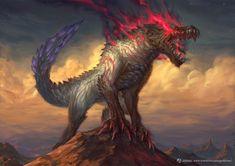 Amazing Ebony Odogaron art by Joshua Raphael - Fantasy - Anime Monster Art, Fantasy Monster, Monster Design, Creature Concept Art, Creature Design, Fantasy Beasts, Fantasy Art, Monster Hunter World Wallpaper, Feuille A3