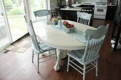 old white for the table and a mixture of old white, louis blue and duck egg for the chairs