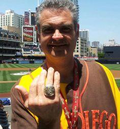 Wearing Giants 2010 World Series Ring.