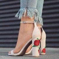 Wish | Elegant Women's Fashion Rose Floral Printed Open Toe High Heel Sandals Summer Shoes