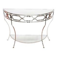 Worlds Away Nickel Plated Console with Plain Mirrored Shelves