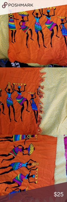 Fair trade wrap skirt or scarf This is a fair trade item that can be used as a wrap skirt or a scarf. The colors are extremely vibrant.  I personally went to Uganda and directly bought these items while on a missions trip to help children.  I am using the proceeds from these fair trade items to fund another trip to Uganda to help more children.  If you have any questions at all please ask.  Bundle to save but remember that the proceeds are going to help more women and children. Uganda Fair…
