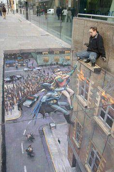 Street Art! Love optical illusions!