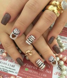 Unhas Love Nails, Pretty Nails, My Nails, Hair And Nails, Black White Nails, Brown Nails, New Nail Designs, Pretty Nail Designs, Super Cute Nails