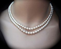 Pearl necklace // Swarovski // Beautiful by QueenMeJewelryLLC, $74.99