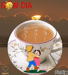 *¸♥.• ✿Bom Dia ✿*´♥ Good Morning Coffee, Good Morning Quotes, Pop Art Posters, Daughter Quotes, Hot Chocolate, Emoji, Flower Arrangements, Tea Cups, Lily