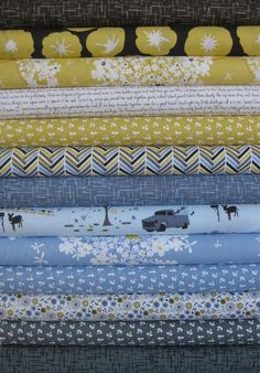 Violet Craft, Madrona Road, Ocean in FAT QUARTERS, 13 Total - love that blue queen anne's lace floral