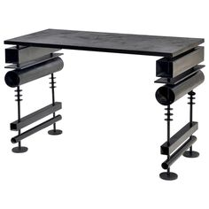 Lacquered Metal Desk or Console by Hubert Le Gall