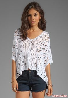 Summer white crochet sweater dms...This looks a lot like the simplicity shell I'm working on right now, but more modern.