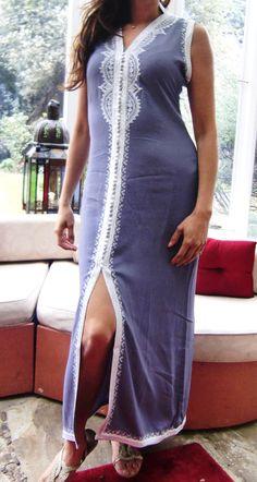 Blue Grey Moroccan Caftan Dress Long  Lella  by MaisonMarrakech, $64.00