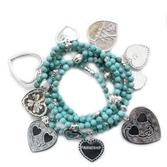 Good Charma Hearts on Turquoise Set available at bluboho!
