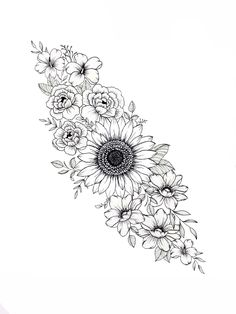 Tattoo design, drawn with fine liner then scanned and arranged on Procreate Sunflower Mandala Tattoo, Mandala Tattoo Sleeve, Mandala Flower Tattoos, Sunflower Tattoos, Sunflower Tattoo Design, Tattoo Sleeve Designs, Sleeve Tattoos, Dope Tattoos, Hip Tattoos Women