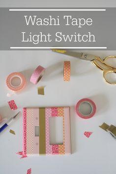 Washi Tape Light Switch, super fun tutorial for customizing your light switches! #washitape  #littlegirlsroomdecor #homedecor