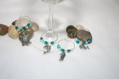 Set of 4 sea creature wine glass charms by TheMajesticElephant, $6.00