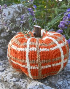 613ef30bbdf73 A knit pumpkin design with a branch stem. No felting required! Find this fun