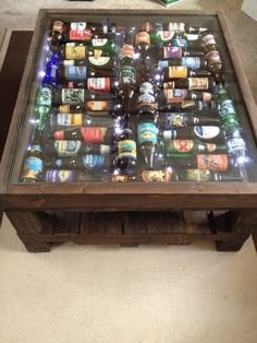 Items similar to beer bottle coffee table with led light .- Ähnliche Artikel wie Beer Bottle Coffee Table With LED lights auf Etsy Items similar to beer bottle coffee table with led lights on etsy - Man Cave Bar, Man Cave Beer Ideas, Man Cave Table, Man Cave Coffee Table, Beer Table, Garage Lighting, Bars For Home, Wood Projects, Diy Furniture