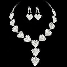 Attractive Heart Style Clear Crystals Wedding Bridal Jewelry Set - (Including Necklace, Earrings) - $34.99 - Trendget.com