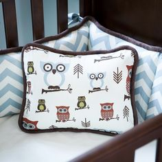 Great for Owl theme for boys...or girls. Retro Owls Decorative Pillow | Carousel Designs