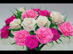 Paper rose flower making easy | How to make crepe paper rose | DIY room decor ideas | Julia DIY - YouTube