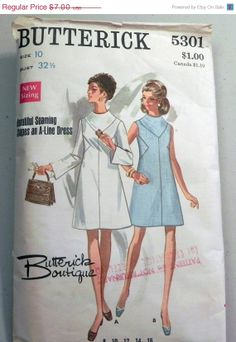 ON SALE 1960s Mod Dress pattern with bias by retroactivefuture, $5.60  [ADHNote: notice that the triangular side panels not only look cool, they swallow the darts. ;) It looks angular but can still be shaped ]