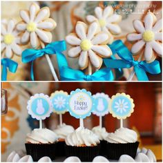 Easter cookie pops and cupcake ideas
