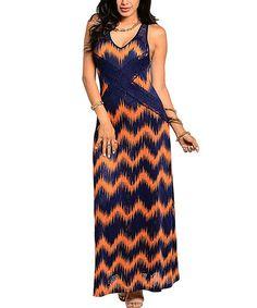 This Navy & Orange Zigzag Lace Maxi Dress is perfect! #zulilyfinds $19.99, regular 48.00