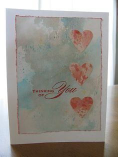 Distress Ink background,hearts punched from another distress ink background,stamp is from Hero Arts