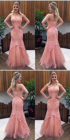 Unique Prom Dresses, Sweetheart Pink Prom Dress, Charming Mermaid Party Dress, Lace Long Evening Dress, There are long prom gowns and knee-length 2020 prom dresses in this collection that create an elegant and glamorous look Elegant Prom Dresses, Pink Prom Dresses, Sweet 16 Dresses, Tulle Prom Dress, Mermaid Prom Dresses, Sweet Dress, Prom Party Dresses, Dance Dresses, Dress Lace