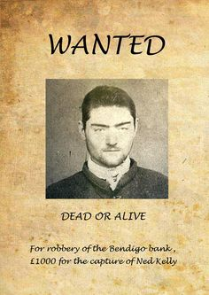 The notorious bushranger, Ned Kelly who was finally hung once caught.  The crime, killing a mounted policeman