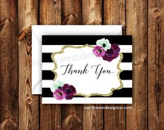 Elegant Floral Purple Gold Black & White Striped Card Folded Thank You Card Boho Modern Bridal Shower Thank You Baby Shower Purple Thank You