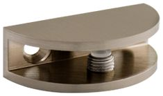 Brushed Nickel Rounded Glass Shelf Bracket - this is ideal for bathroom glass shelves because it holds them secure but allows you to loosen the piece and remove the shelves temporarily for cleaning. I like this rounded one. Decorative Shelf Brackets, Glass Shelf Brackets, Metal Shelves, Glass Shelves, Wrought Iron Trellis, Glass Shelf Supports, Shelf Holders, Dressing Mirror, Glass Bathroom