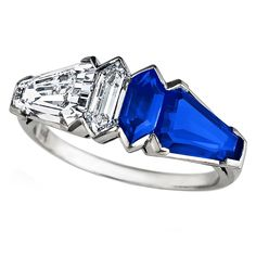 Art Deco Diamond Sapphire Ring | From a unique collection of vintage more rings at http://www.1stdibs.com/jewelry/rings/more-rings/