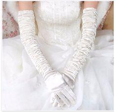 Hot Sale Bridal Gloves Full Finger Pleats Satin Elbow Length Wedding 2017