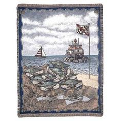 Maryland Blue Crab Tapestry Throw Blanket
