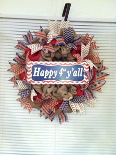 Burlap July 4 wreath