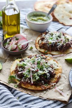 Puffy Tostadas with Chile and Beer Braised Short Ribs and Tomatillo Salsa - Cooking for Keeps