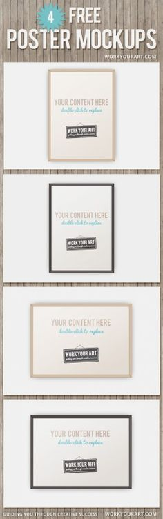 Free frame poster mockup psd templates: brown and black frames in portrait and landscape, insert ...