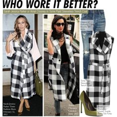 Who Wore It Better?Sarah Jessica Parker or Amal Clooney in Tome Plaid Sleeveless Trench Coat by kusja on Polyvore featuring polyvore fashion style Stuart Weitzman Tome Citizens of Humanity WhoWoreItBetter sarahjessicaparker wwib amalclooney
