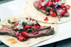 Chili Lime Flank Steak with Strawberry Mint Salsa