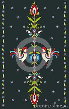 Polish traditional folk pattern - on a dark background