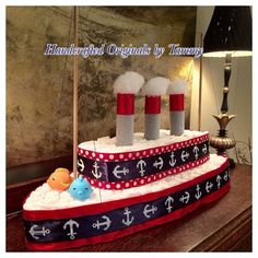 Diaper boat, nautical baby shower.                                                                                                                                                                                 More