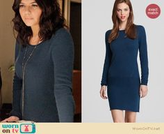 Penny's blue sweater dress and long silver necklace on Happy Endings. Outfit details: http://wornontv.net/13766/